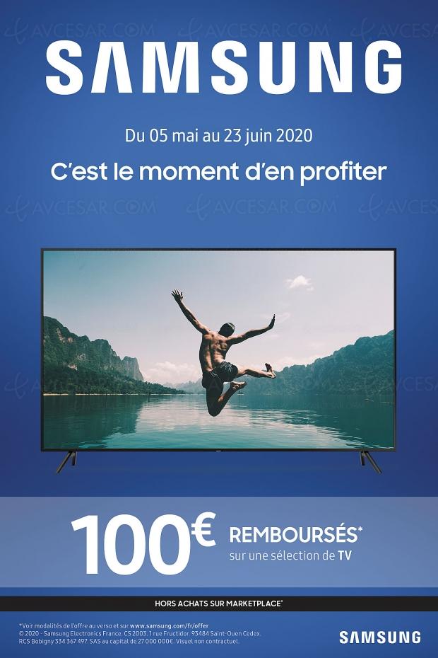 Offre de remboursement TV Samsung QLED et TV Ultra HD 4K, 100 € remboursés