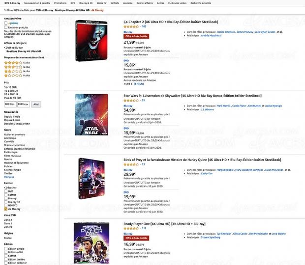 Amazon, 187 coffrets 4K Ultra HD Blu‑Ray à moins de 20 €