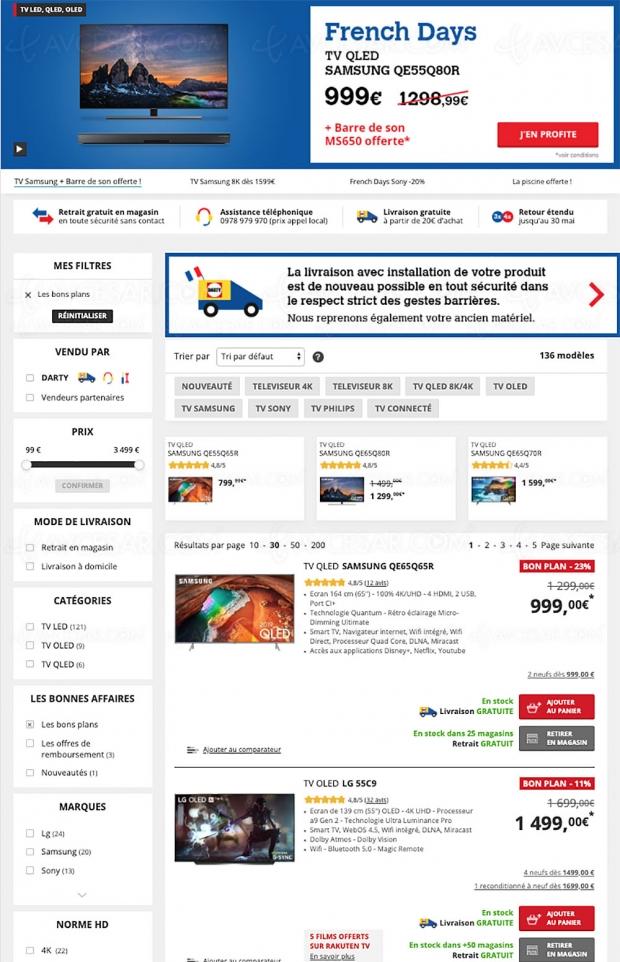 Soldes Darty, 136 TV proposés jusqu'à ‑47% de remise