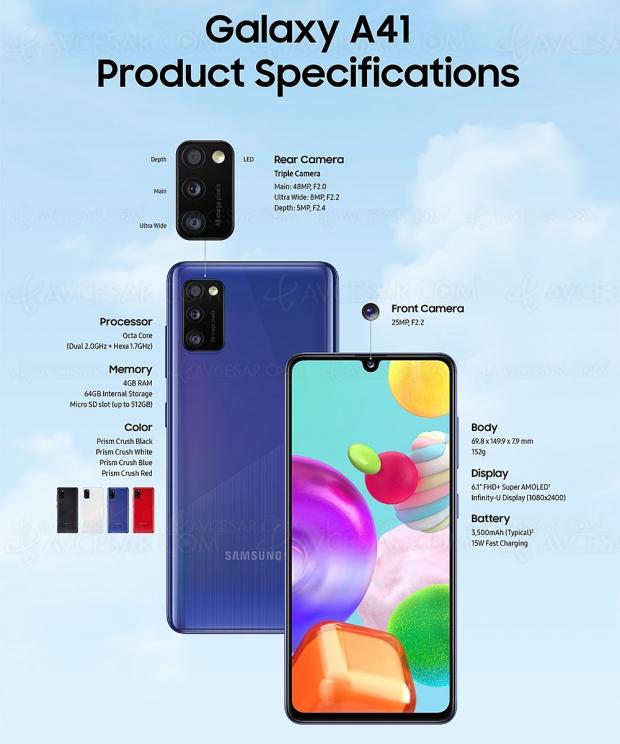 Samsung Galaxy A41, triple capteurphoto à bon prix