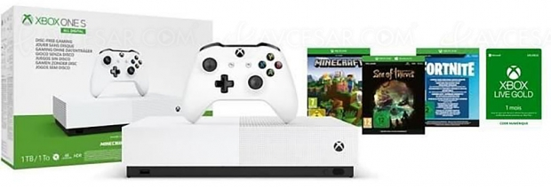 Soldes CDiscount.com, Xbox One S All Digital + 3 jeux (Fortnite, Sea of Thieves et Minecraft) + 1 mois au Xbox Live Gold à 149,99 €, soit ‑35% de réduction