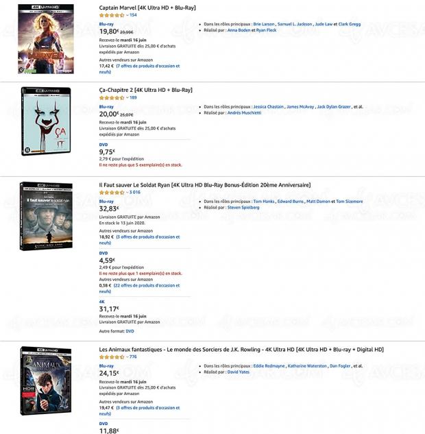Amazon, 206 coffrets 4K Ultra HD Blu‑Ray à moins de 20 €