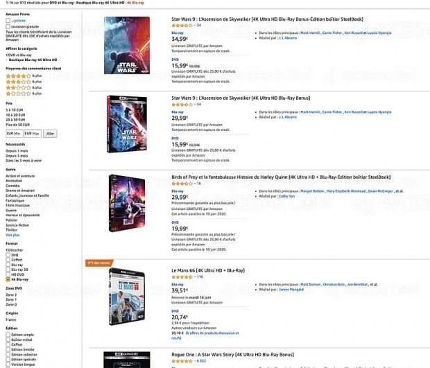 Amazon, 913 coffrets 4K Ultra HD Blu‑Ray jusqu'à ‑67%