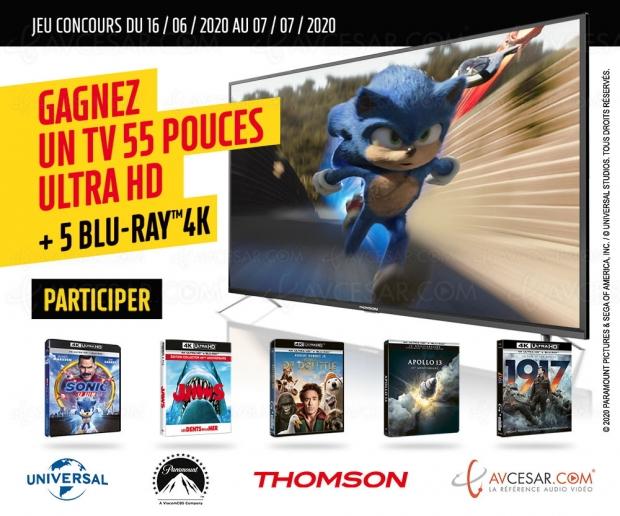Concours Thomson/Paramount/Universal, tentez de gagner un Smart Android TV UHD 4K et 5 films 4K Ultra HD