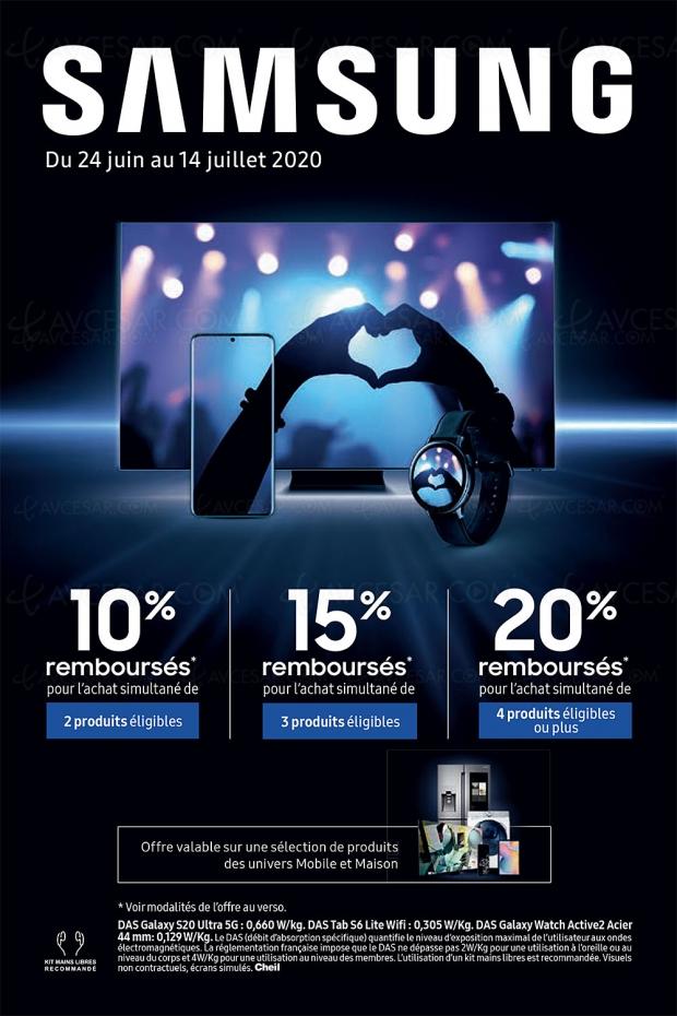 Offre de remboursement Samsung Univers Mobile et Maison : 10%, 15% ou 20% remboursés