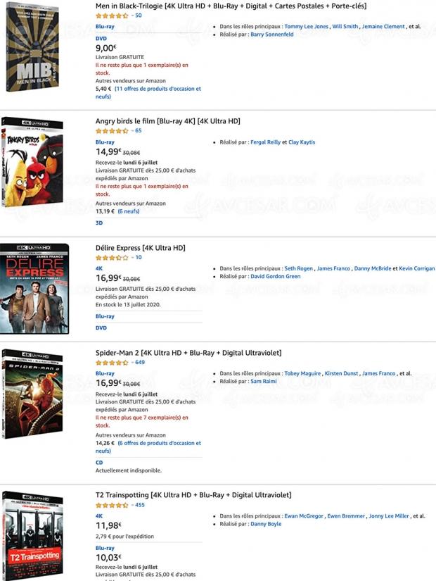 Amazon, 49 coffrets 4K Ultra HD Blu‑Ray jusqu'à -54% de remise