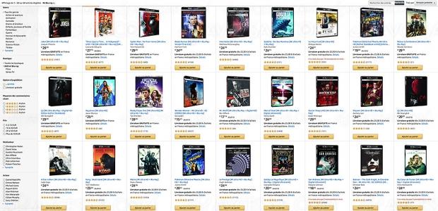 Amazon, deux 4K Ultra HD/Blu‑Ray achetés, un troisième offert parmi 1 080 titres