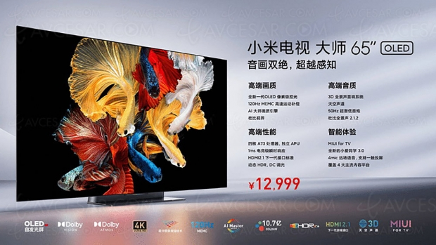 TV Oled Ultra HD 4K Xiaomi 65'' Master Series à -1 600 €… en Chine