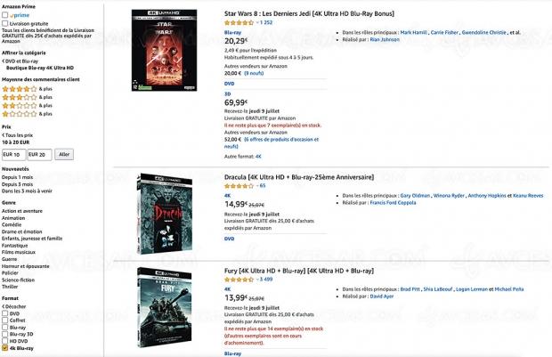 Amazon, 233 coffrets 4K Ultra HD Blu‑Ray à moins de 20 €