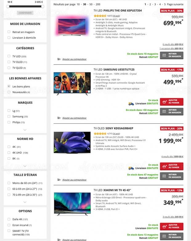 Soldes Darty, 223 TV affichés jusqu'à ‑50% de remise