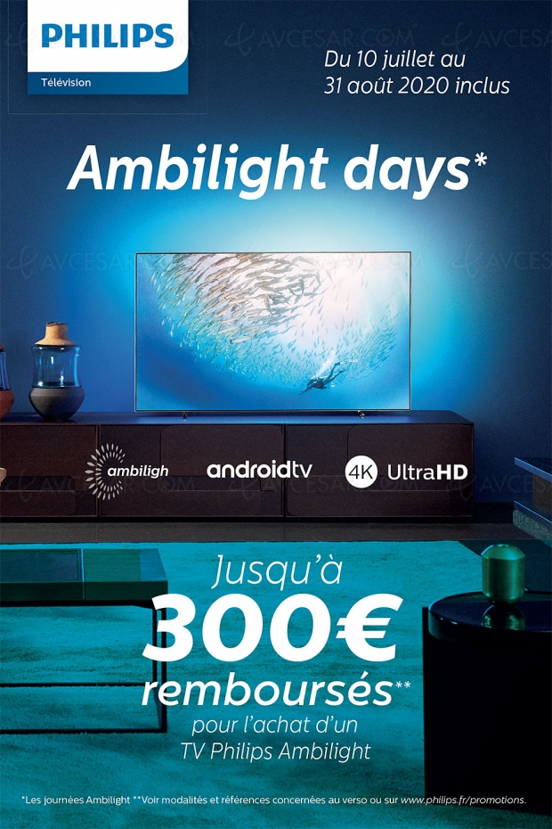 Offre de remboursement Philips TV Oled/LCD Ultra HD 4K Ambilight Days, jusqu'à 300 € remboursés