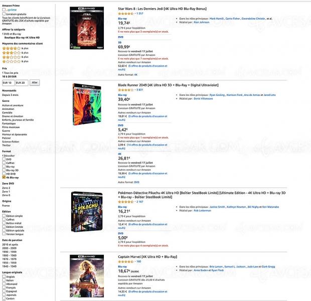 Amazon, 263 coffrets 4K Ultra HD Blu‑Ray à ‑20 €