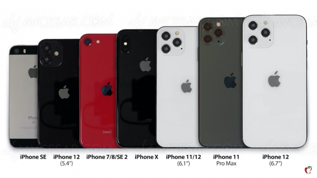 Taille des iPhone 12 par rapport aux précédents modèles, en image