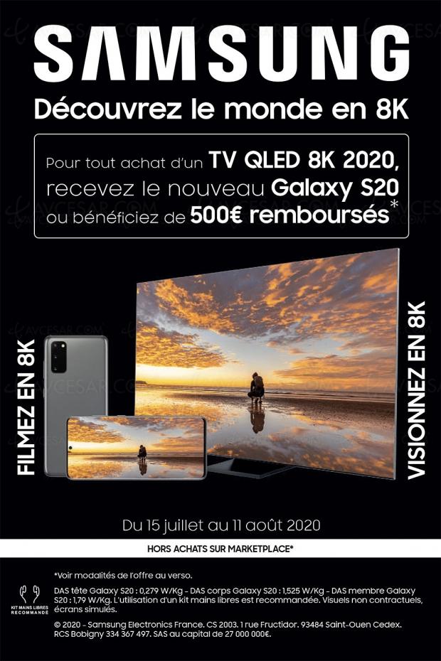 Offre de remboursement TV Samsung QLED 8K Q800T/Q950T, 500 € remboursés ou un smartphone Galaxy S20 offert