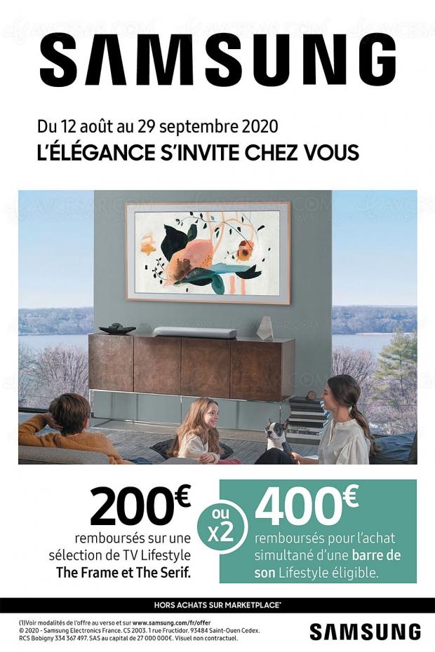 Offre de remboursement TV Samsung The Frame/The Serif, 200 € remboursés, 400 € avec l'achat d'une barre de son