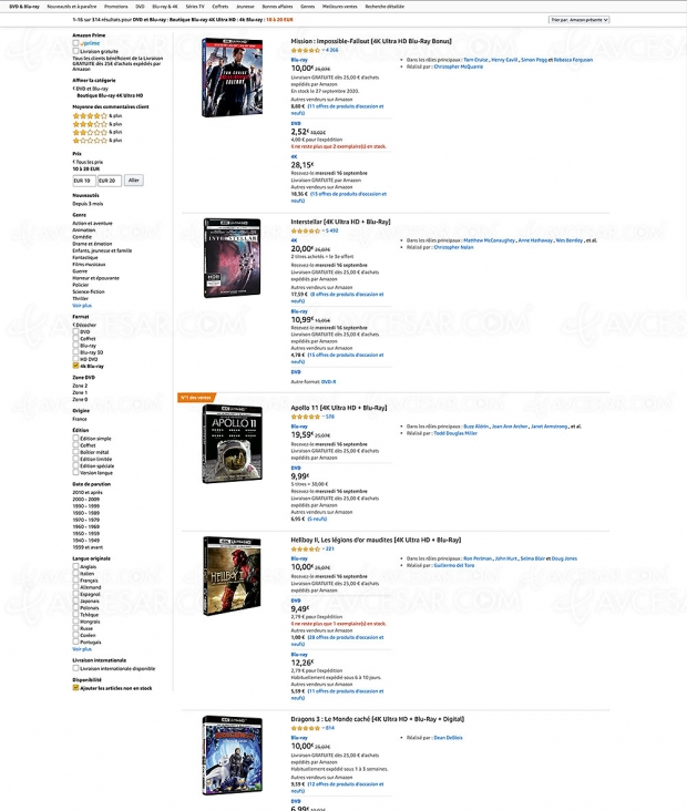 Bonnes affaires Amazon, 314 coffrets 4K Ultra HD Blu‑Ray à ‑20 €