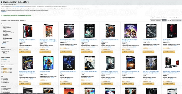 Amazon, deux 4K Ultra HD/Blu‑Ray achetés, un troisième offert parmi 2 596 titres