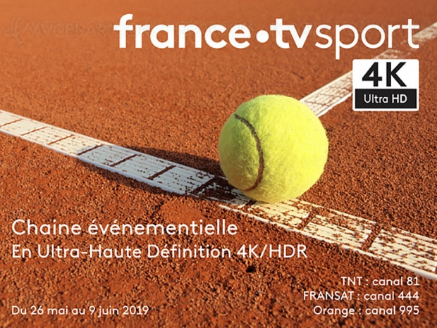 Roland Garros en Ultra HD/4K HDR sur le canal événementiel France TV Sport UHD 4K
