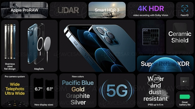 iPhone 12 Pro : 5G, 3 x 12 Mpxls, A14 Bionic, Machine Learning, HDR Dolby Vision…