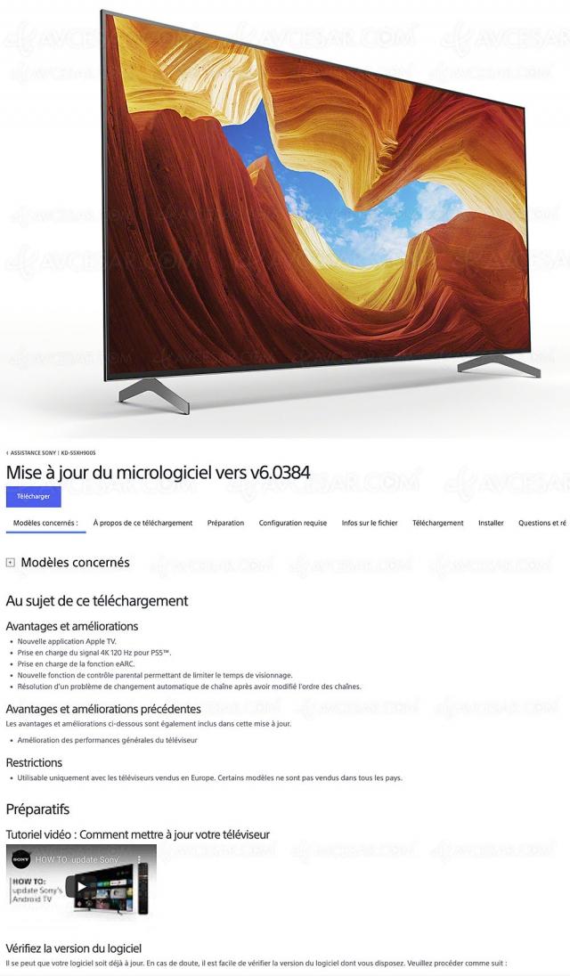 TV Sony XH9005 et Sony ZH8, mises à jour Ultra HD 4K/120 et 8K/60 disponibles