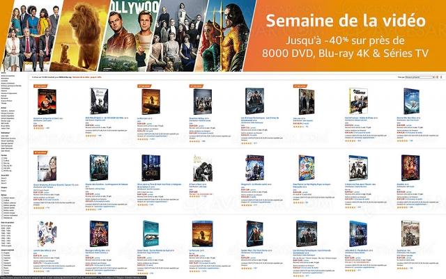 Semaine de la vidéo Amazon, 8 000 4K Ultra HD, Blu‑Ray, DVD jusqu'à ‑60%