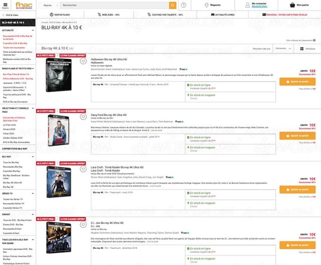 Fnac, 39 coffrets 4K Ultra HD Blu‑Ray affichés à 10 €