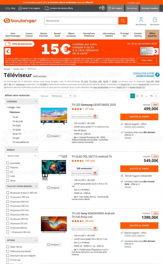 Soldes 2020 Boulanger, 442 TV proposés jusqu'à ‑75% de remise
