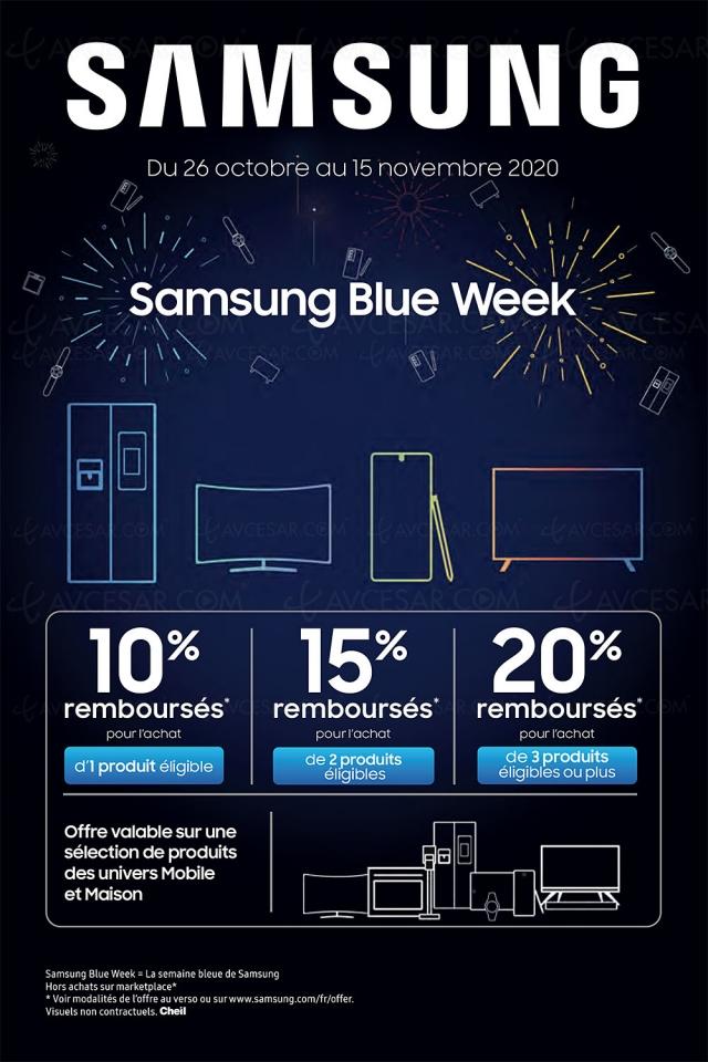 Offre Samsung Blue Week, jusqu'à 20% remboursés