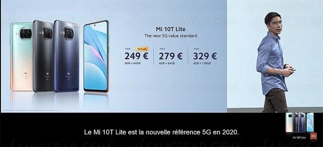 Smartphone Xiaomi Mi 10T Lite, captation vidéo UHD 8K, 5G et bon rapport qualité‑prix