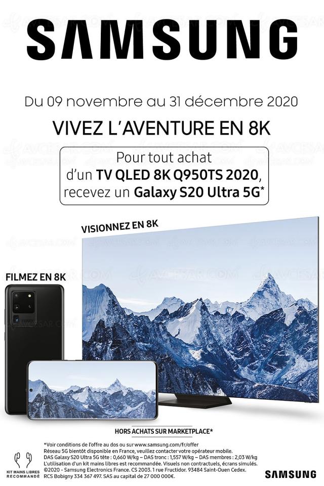 Samsung Galaxy S20 Ultra 5G 128 Go offert pour l'achat d'un TV QLED 8K Samsung Q950TS