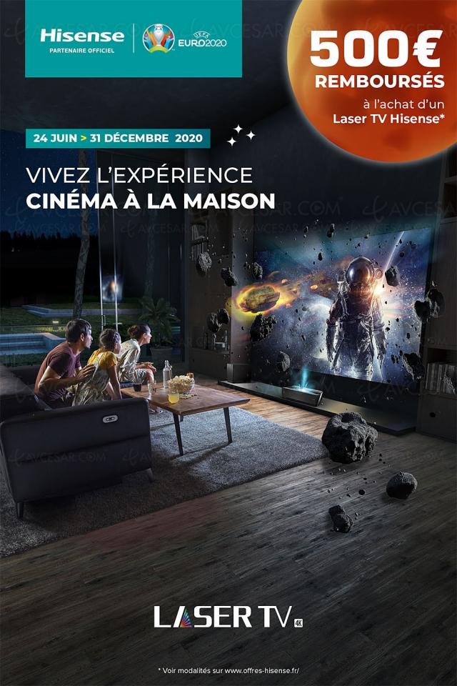 Offre de remboursement Hisense Laser TV 100'' (254 cm), 500 € remboursés