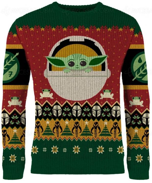 Pull moche de Noël mais mignon, Baby Yoda oblige