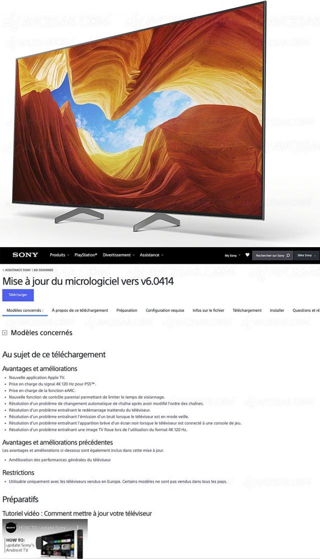 TV Sony XH9005 et Sony ZH8, nouvelles mises à jour Ultra HD 4K/120 et 8K/60