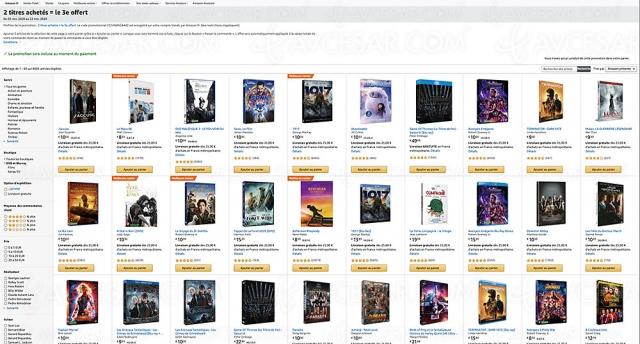 Amazon, deux 4K Ultra HD/Blu‑Ray/DVD achetés, un troisième offert parmi 6 606 titres