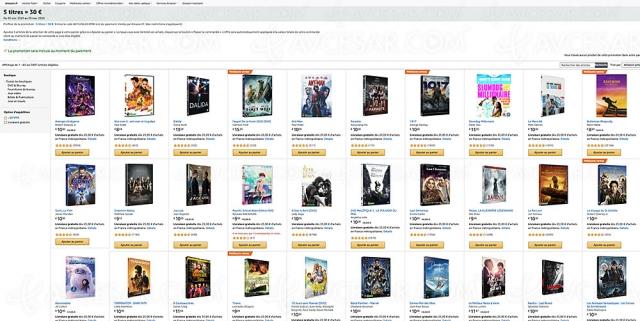 Promo Amazon, cinq DVD/Blu‑Ray achetés pour 30 € parmi 3 897 titres
