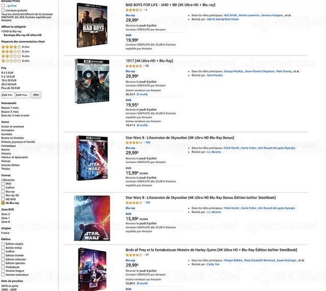 Bons plans Noël 2020 Amazon, 1 000 coffrets 4K Ultra HD Blu‑Ray jusqu'à ‑67%