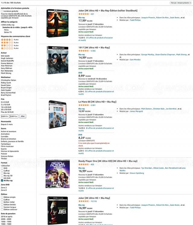 Bons plans Noël 2020 Amazon, 188 coffrets 4K Ultra HD à petits prix !