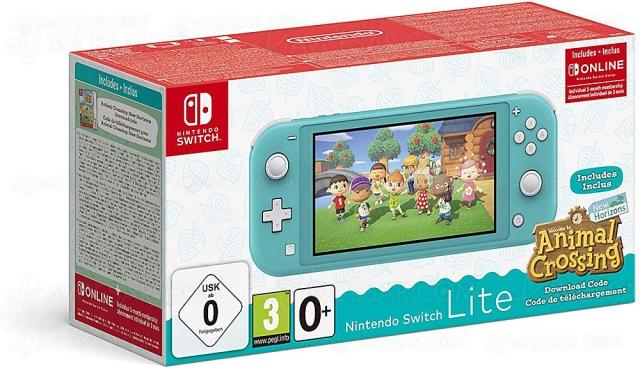 Bons plans Noël 2020 > Nintendo Switch Lite + Animal Crossing + 3 mois Switch Online à 199,99 €, soit ‑26% de remise