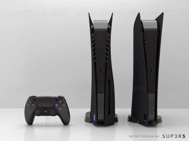PlayStation 5 customisée noire façon PS2