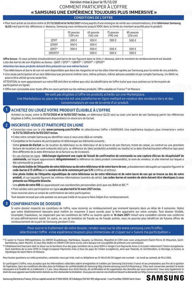 Offre de remboursement Samsung TV QLED + barre de son, jusqu'à 1 000 € remboursés