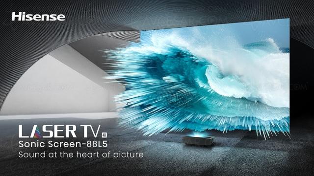 CES 21 > Sonic Laser TV Hisense 88L5VG Ultra HD/4K avec système audio intégré dans l'écran
