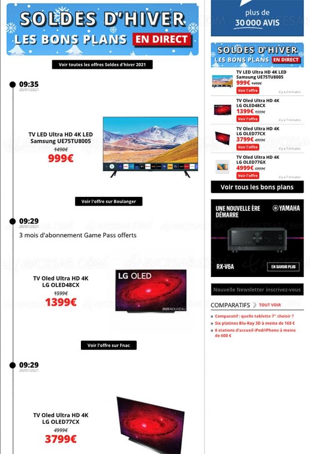 Soldes hiver 2021 > Les meilleures offres sélectionnées par AVCesar.com : TV Oled, TV LED, smartphones…