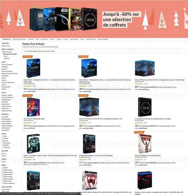 Soldes hiver 2021 > Amazon, 32 coffrets 4K Ultra HD jusqu'à 51% de remise à saisir !