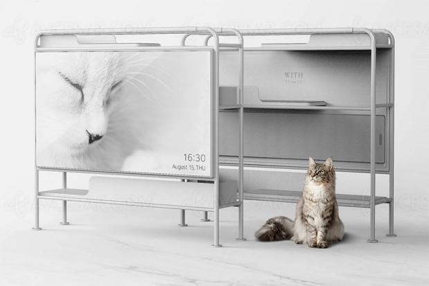 Le meuble TV devient enfin un arbre à chats design et pratique