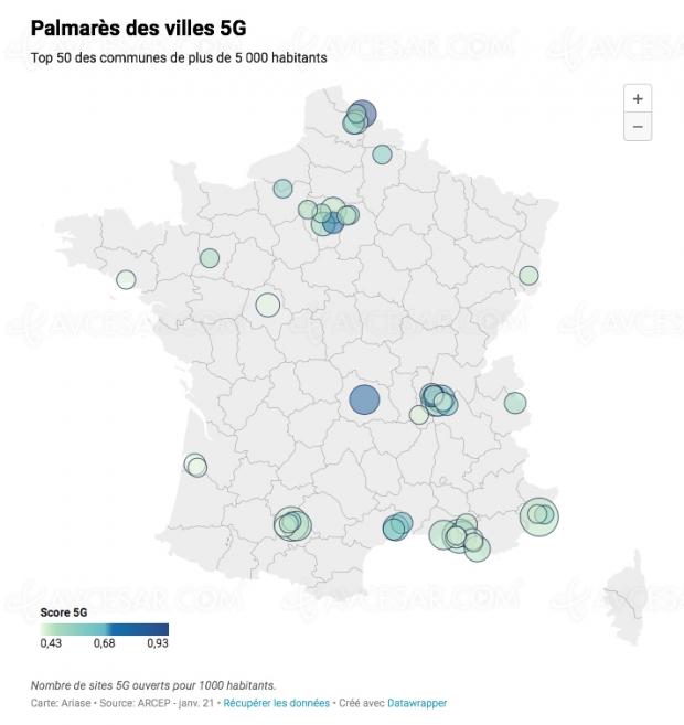 Quelles sont les villes françaises les mieux couvertes par la 5G ?