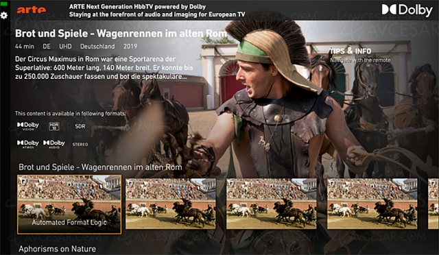 Les technologies Dolby sur le portail HBBTV d'Arte