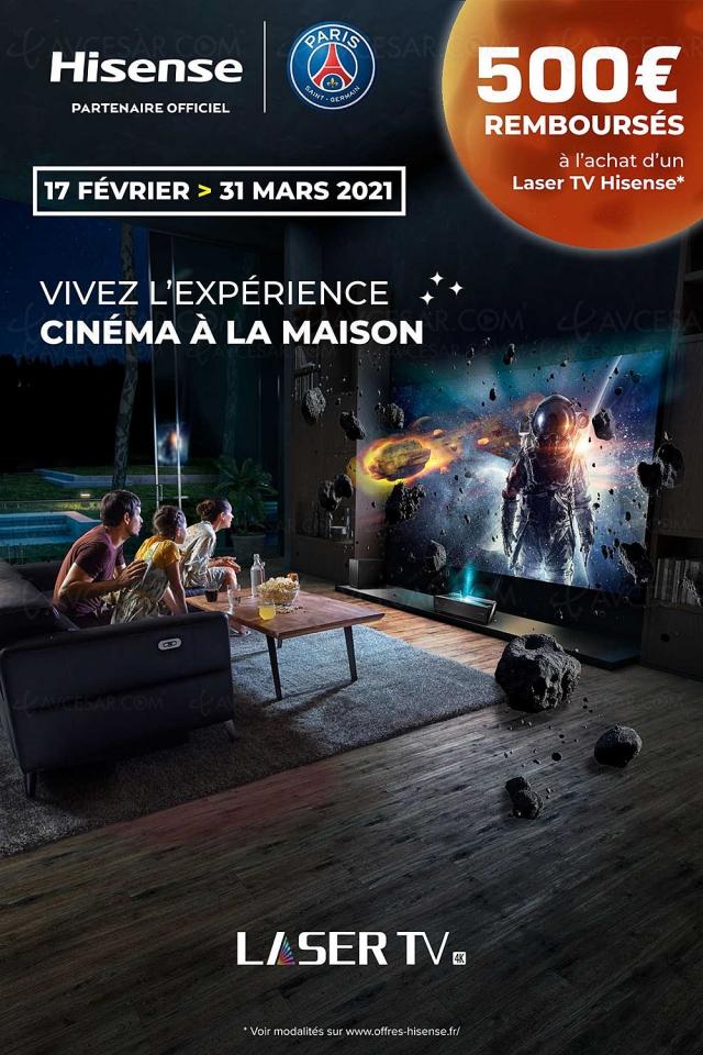 Laser TV Hisense 100LF5 (100'', 254 cm), 500 € remboursés, prolongés jusqu'au 31 mars 2021