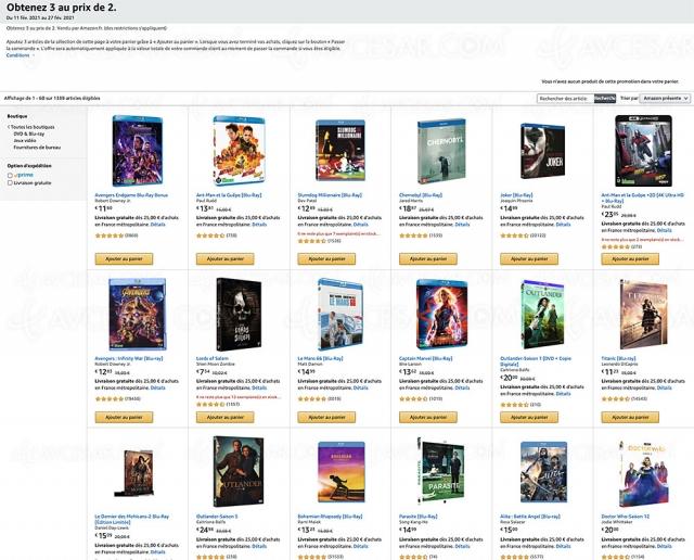 Bon plan Amazon, deux 4K Ultra HD/Blu‑Ray/DVD achetés, un 3e offert parmi 1 339 titres