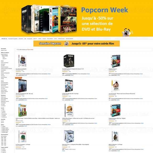 Bon plan Amazon Popcorn Week, jusqu'à ‑56% sur 402 4K Ultra HD, Blu‑Ray et DVD