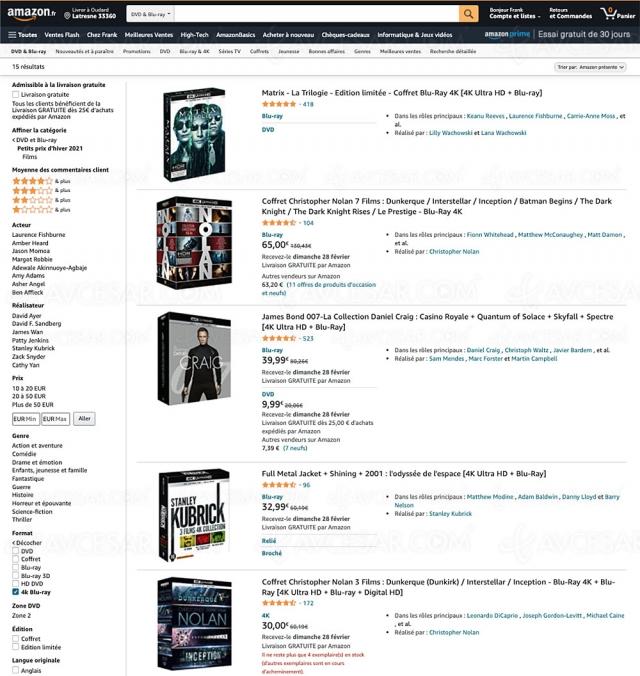 Bon plan Amazon, 15 coffrets 4K Ultra HD jusqu'à 51% de remise !